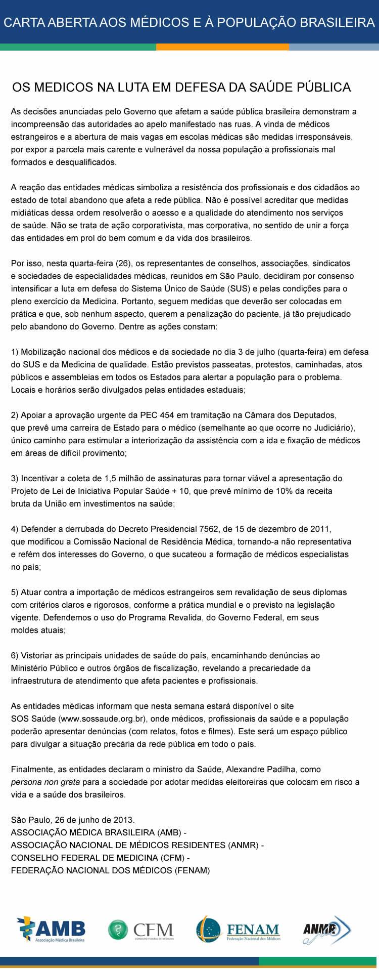 0661363b28731 Carta Aberta aos médicos e à população brasileira -  b Clique para aumentar  a